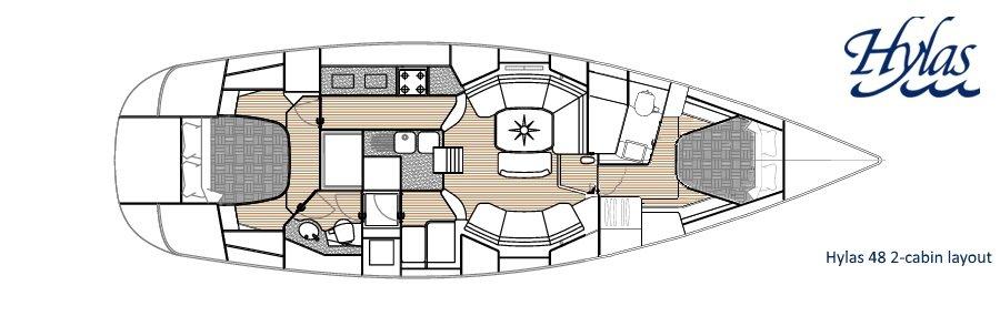 Hylas 48 2-cabin Interior Layout