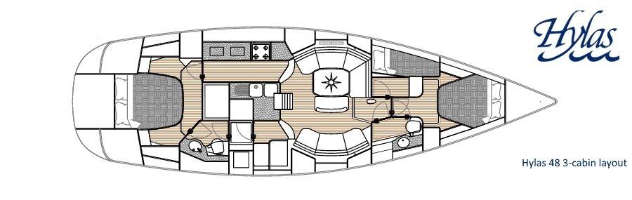 Hylas 48 3-cabin Interior Layout