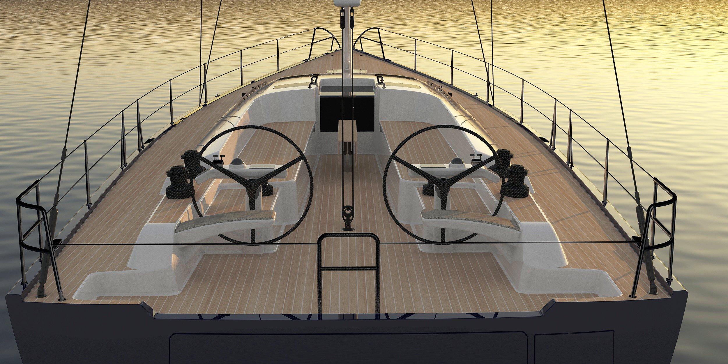 Hylas 60 Forward Stateroom cockpit configuration