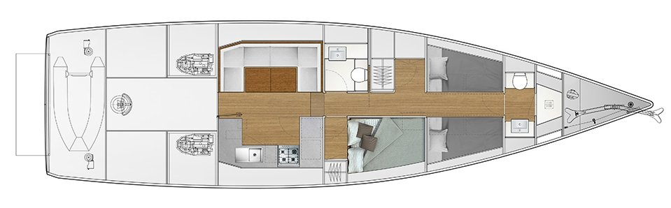 Vismara V52DS 2-cabin solution B - 1 cabin with double bed, 1 cabin with 2 bunk beds