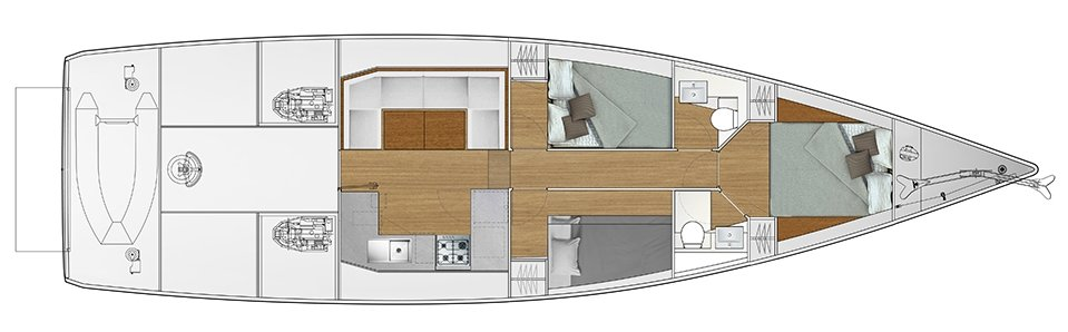 Vismara V52DS 3-cabin solution E - 2 cabins with double bed, 1 cabin with bunk bed