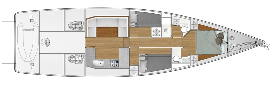 Vismara V52DS 3-cabin solution G - 2 cabins with bunk bed, 1 cabin with double bed