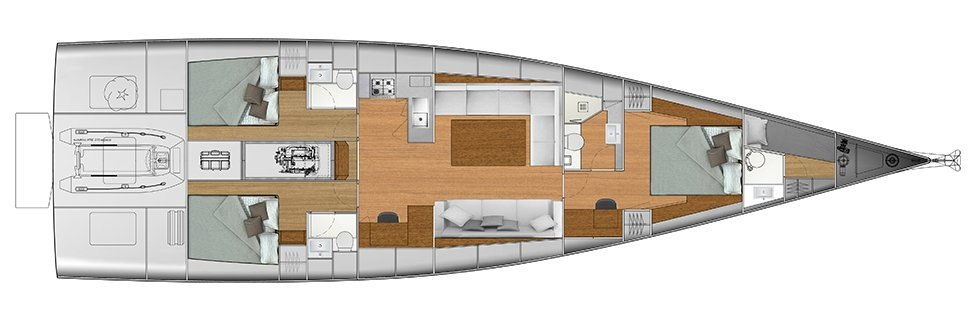 Vismara V62 Mills - Solution C - Stern Cabins with double bed; Living Area with stern galley; Owner Suite with central bed layout