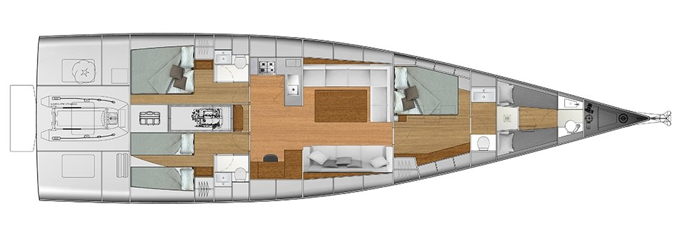 Vismara V62 Mills - Solution F - Stern Cabins with two singles bed and double bed; Living Area with stern galley; Owner Suite with side bed layout