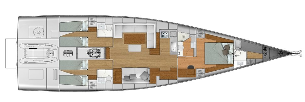 Vismara V62 Mills - Solution H - Stern Cabins with two singles bed; Living Area with bow galley; Owner Suite with central bed layout