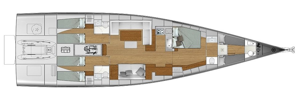 Vismara V62 Mills - Solution I - Stern Cabins with two singles bed; Living Area with bow galley; Owner Suite with side bed layout