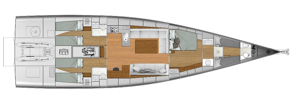 Vismara V62 Mills - Solution L - Stern Cabins with two singles bed; Living Area with stern galley; Owner Suite with side bed layout