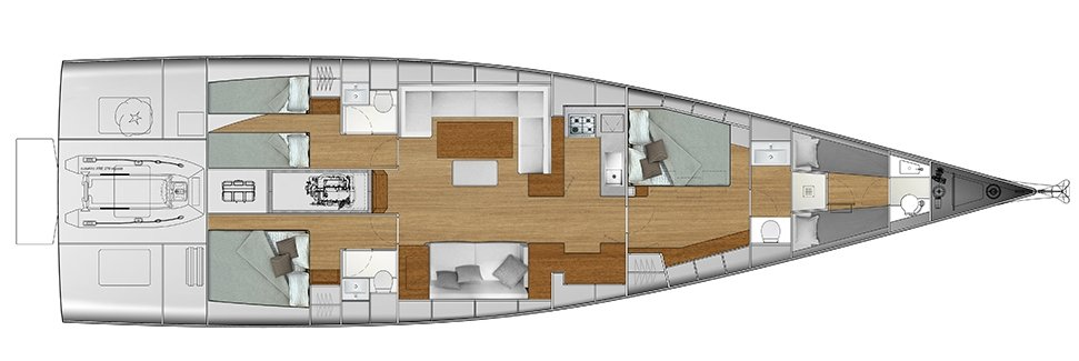 Vismara V62 Mills - Solution M - Stern Cabins with two singles bed and double bed; Living Area with bow galley; Owner Suite with side bed layout