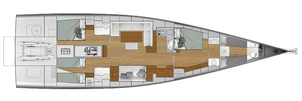 Vismara V62 Mills - Solution O - Stern Cabins with two singles bed and double bed; Living Area with bow galley; Owner Suite with side bed layout