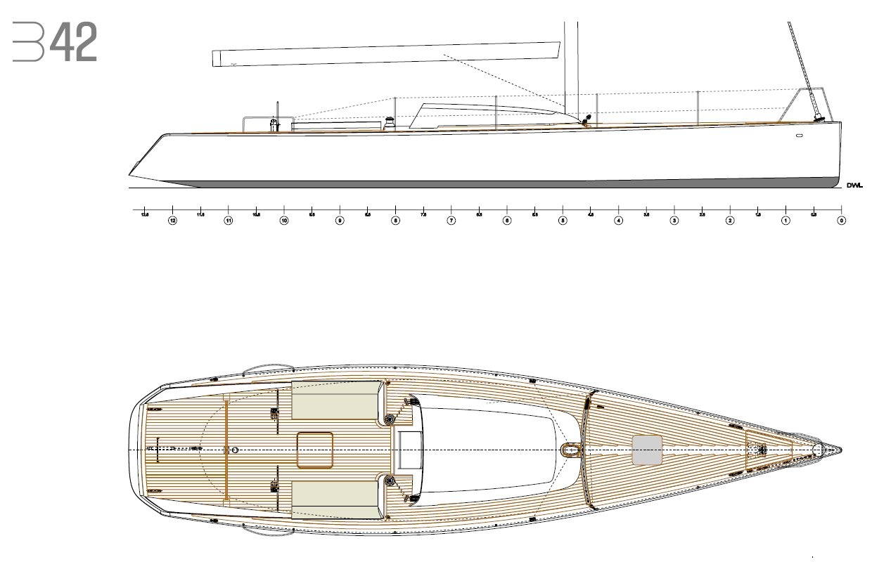 Luca Brenta B42 deck layout