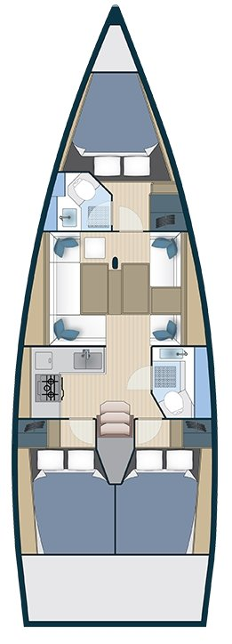 More Boat 40 3-cabin, 2-heads layout