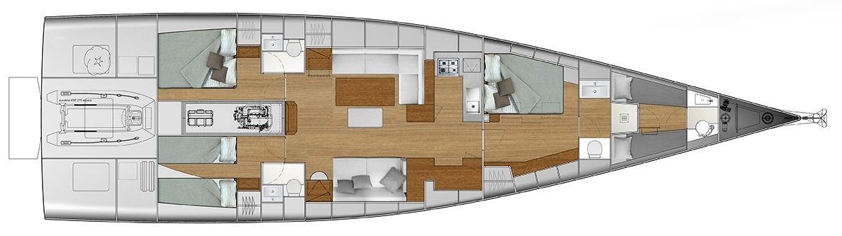Vismara V62 Mills Hull No.3 interior layout plan
