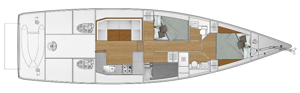 3-cabin solution I - 2 cabins with double bed, 1 cabin with bunk bed