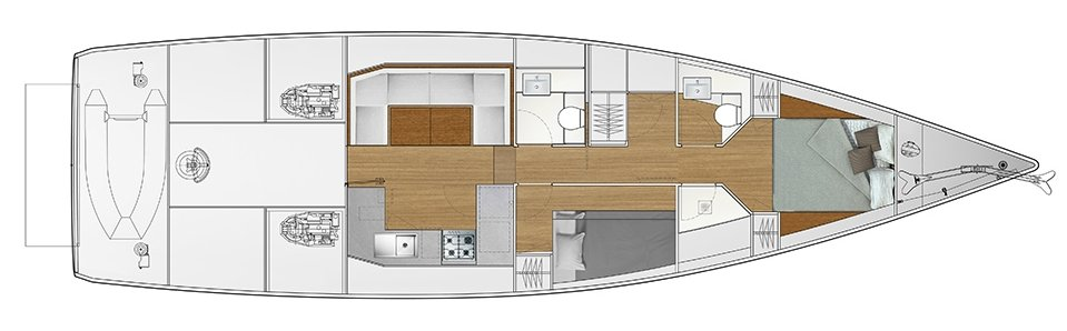 Vismara V52DS 2-cabin solution A - 1 cabin with double bed, 1 cabin with bunk bed