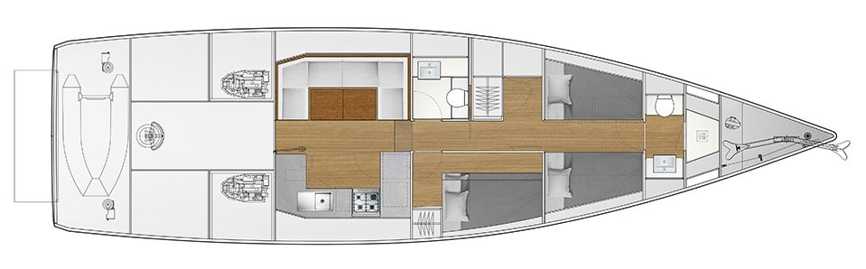Vismara V52DS 2-cabin solution D - 1 cabin with bunk bed, 1 cabin with 2 bunk beds