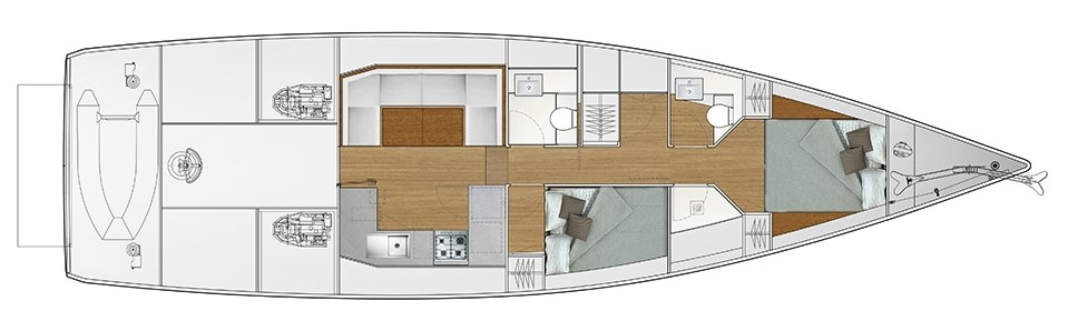 Vismara V52DS 2-cabin solution C - 2 cabins with 2 double beds