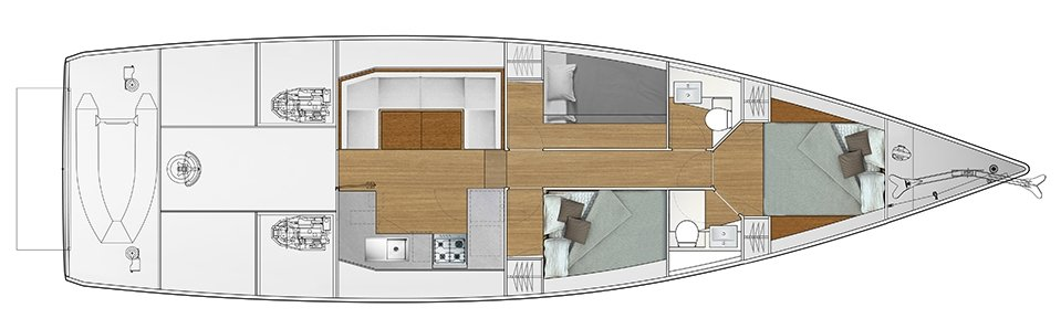 Vismara V52DS 3-cabin solution A - 2 cabins with double bed, 1 cabin with bunk bed
