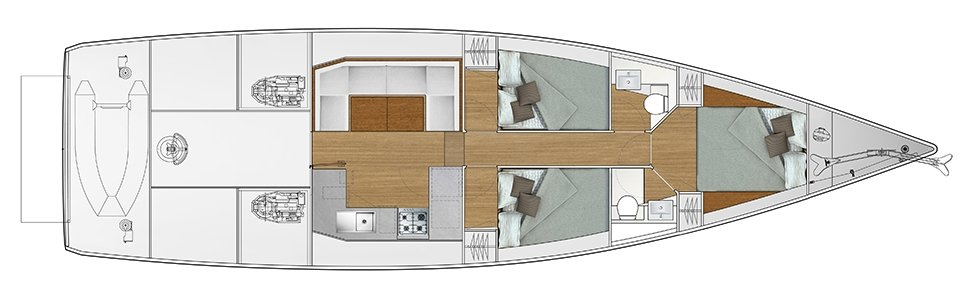 Vismara V52DS 3-cabin solution B - 3 cabins with double bed