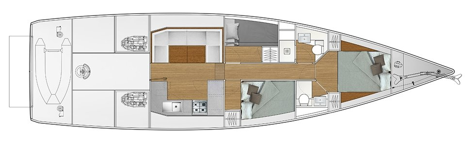 Vismara V52DS 3-cabin solution C - 2 cabins with double bed, 1 cabin with bunk bed