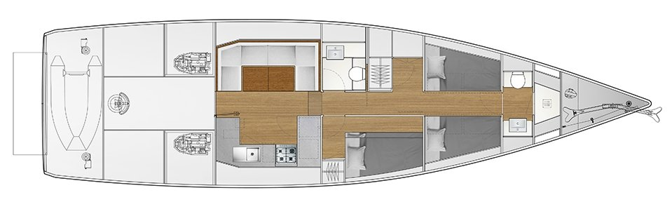 Vismara V52DS 2 cabins with bunk bed, 1 cabin with double bed