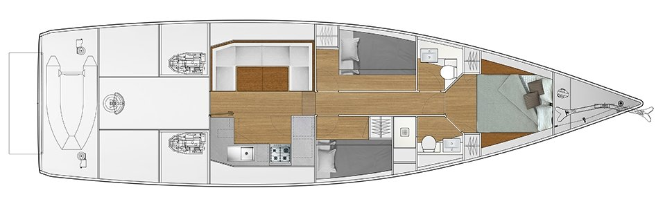 Vismara V52DS 3-cabin solution F - 2 cabins with bunk bed, 1 cabin with double bed