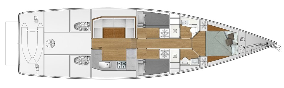 Vismara V52DS 3-cabin solution H - 2 cabins with bunk bed, 1 cabin with double bed