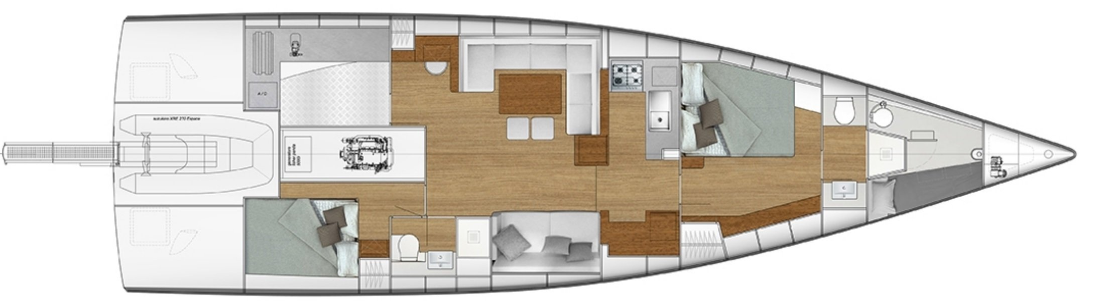 Vismara V56 Mills 2-cabin interior layout plan