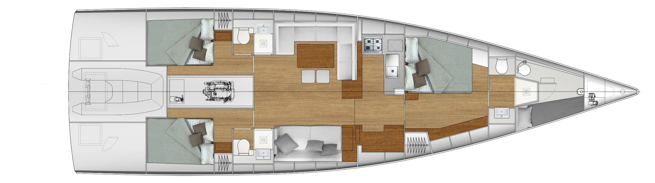 Vismara V56 Mills 3-cabin interior layout plan