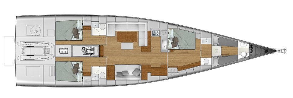 Vismara V62 Mills - Solution A - Stern Cabins with double bed; Living Area with bow galley; Owner Suite with side bed layout