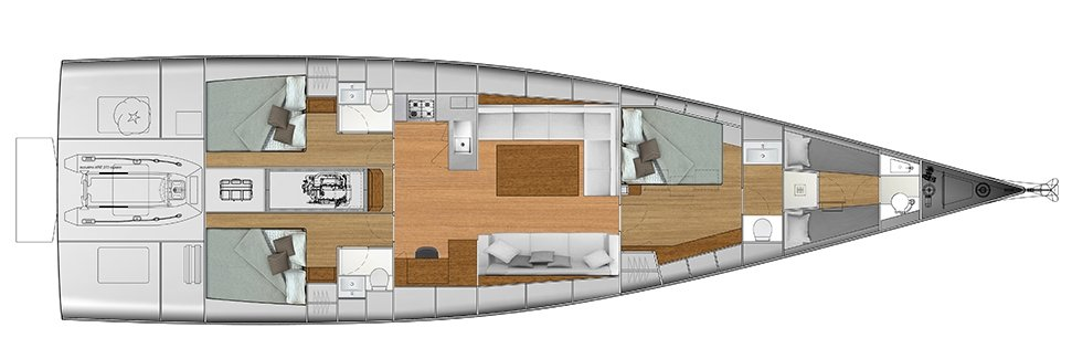 Vismara V62 Mills - Solution D - Stern Cabins with double bed; Living Area with stern galley; Owner Suite with side bed layout