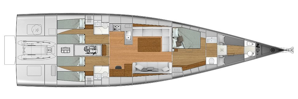 Vismara V62 Mills - Solution E - Stern Cabins with two singles bed; Living Area with stern galley; Owner Suite with side bed layout