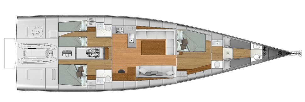 Vismara V62 Mills - Solution G - Stern Cabins with two singles bed and double bed; Living Area with stern galley; Owner Suite with side bed layout